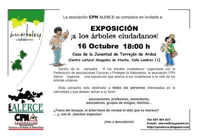 """CPN- Alerce organiza una exposición de la campaña """"A los árboles... ciudadanos"""" en Torrejón de Ardoz (Madrid)"""